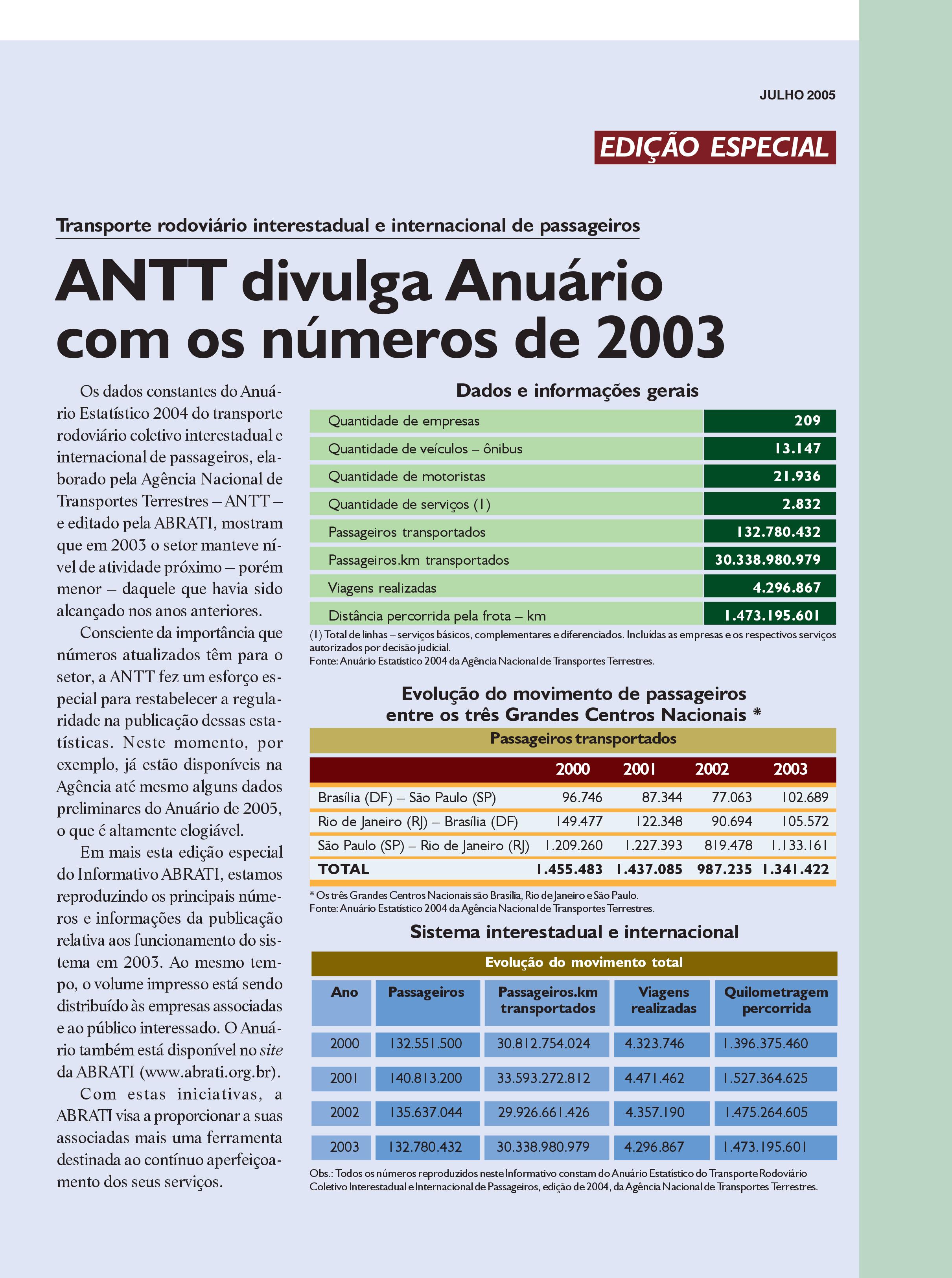 Informativo Especial Julho 2005